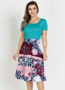 Vestido Floral Rosa Evasê Moda Evangélica