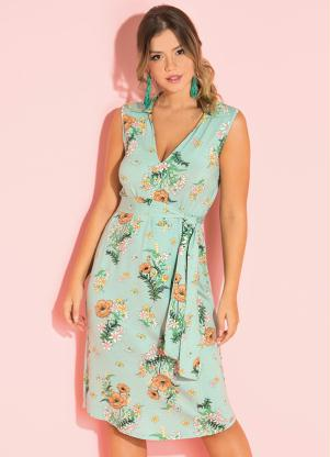 Vestido (Floral Verde) com Gola e Botões
