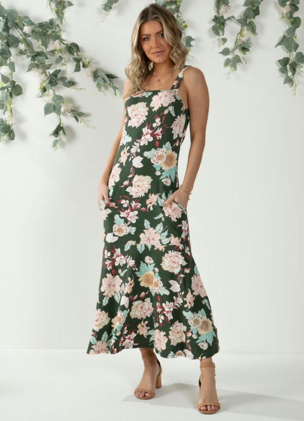 Vestido (Floral Verde) com Recorte Formando Babado