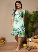 Vestido Floral Verde Midi com Abotoamento