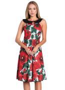 Vestido Floral Vermelho com Gola Moda Evangélica