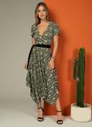 Vestido Florzinha Verde com Assimetria