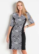 Vestido Geométrico com Recortes Moda Evangélica
