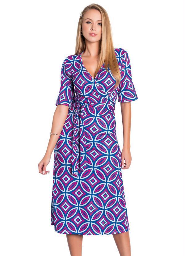Vestido (Geométrico) com Faixa Moda Evangélica