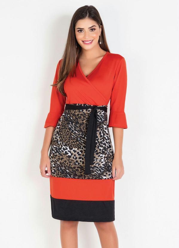 Vestido (Laranja e Animal Print) Moda Evangélica