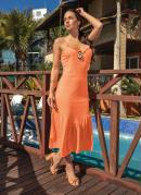 Vestido Laranja Neon com Babado no Decote