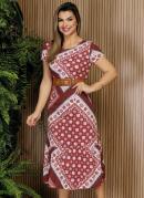 Vestido Lenço Vermelho Com Babado Moda Evangélica