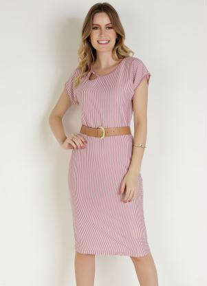 Vestido (Listras Rosa) com Argola Moda Evangélical