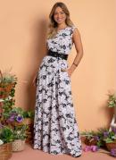 Vestido Longo Floral P&B com Bolsos e Fenda