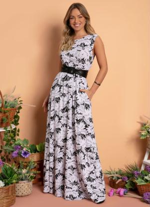 Vestido Longo (Floral P&B) com Bolsos e Fenda