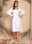 Vestido Midi Branco com Mangas Longas Bufantes