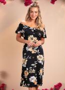 Vestido Midi com Babado no Decote Floral Preto