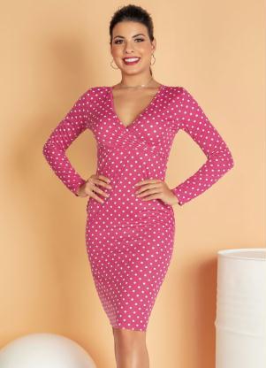 Vestido Midi com Decote Transpassado (Pink)