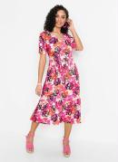 Vestido Midi com Decote V Floral Rosa