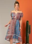 Vestido Midi Étnico Azul Modelo Ciganinha