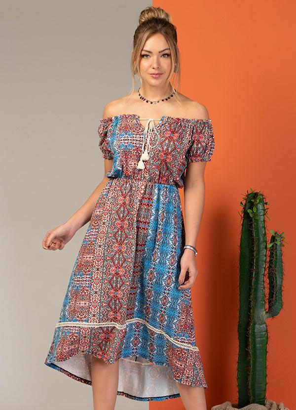 Vestido Midi (Étnico Azul) Modelo Ciganinha
