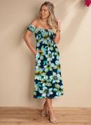 Vestido Midi Floral Azul Ciganinha com Bolsos