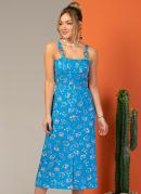 Vestido Midi Floral Azul com Alças Largas