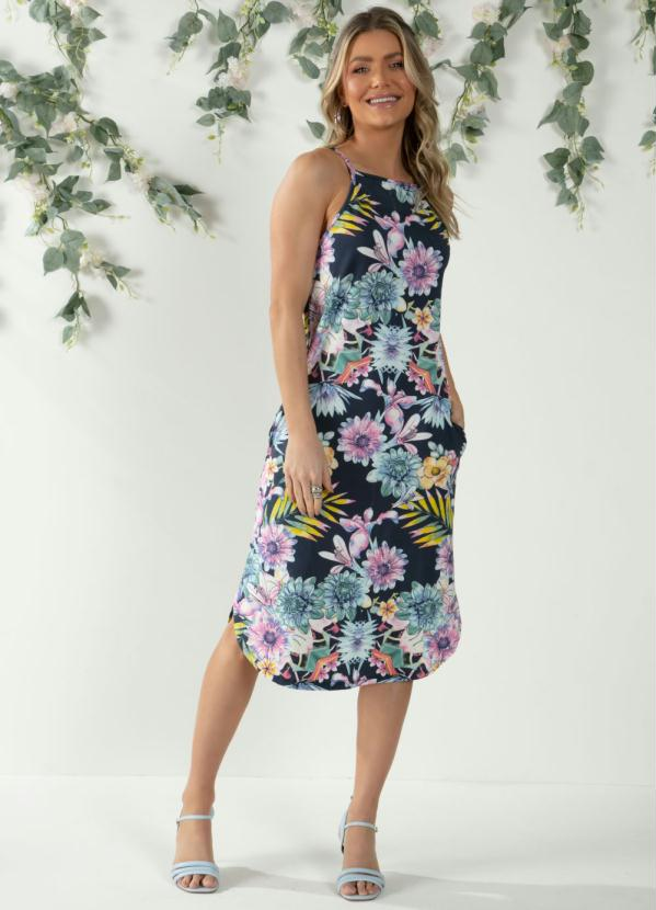 Vestido Midi (Floral Marinho) Barra Arredondada