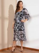 Vestido Midi Floral Preto com Mangas 3/4