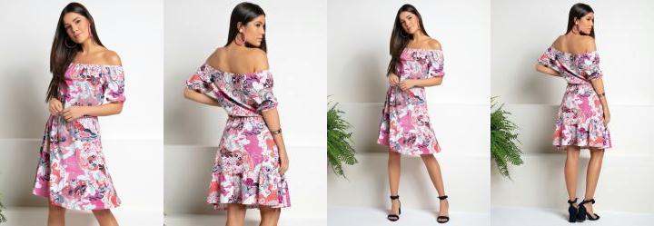 Vestido Midi Floral Rosa Ciganinha com Babados
