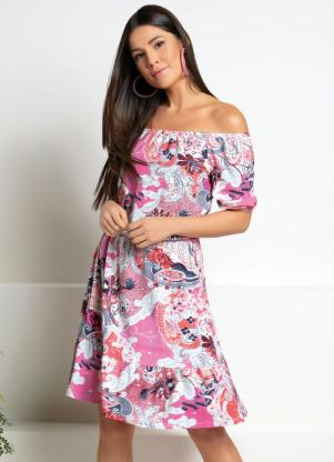 Vestido Midi (Floral Rosa) Ciganinha com Babados
