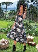 Vestido Midi Floral Rosado Decote Quadrado