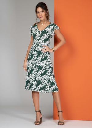 Vestido Midi (Floral Verde) com Abertura Atrás