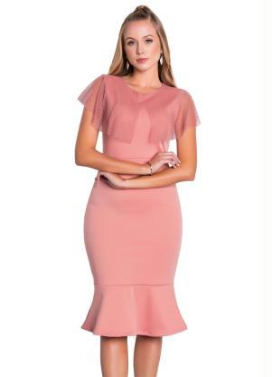 Vestido Midi (Rosa Envelhecido) Moda Evangélica