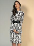 Vestido Midi Zebra com Mangas Sino
