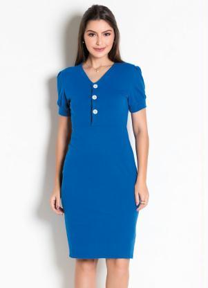 Vestido Moda Evangélica (Azul) com Manga Bufante