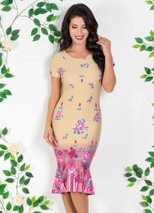 78d961070 Vestido Moda Evangélica com Barrado Floral - Quintess