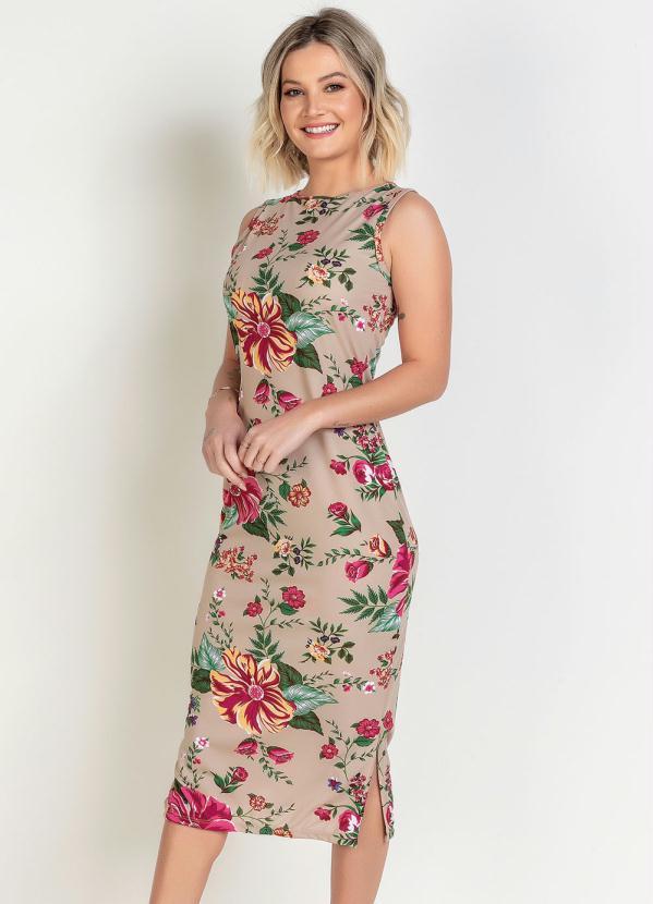 Vestido Moda Evangélica (Floral) com Babado