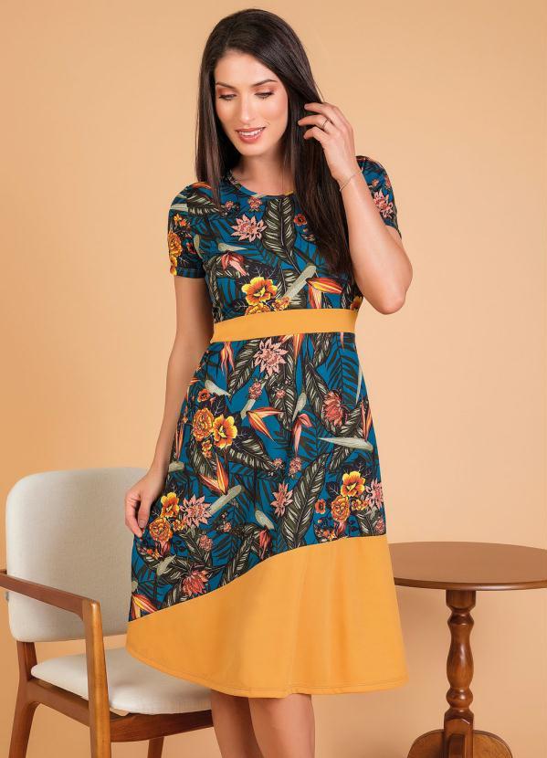 Vestido Moda Evangélica (Floral) com Recorte