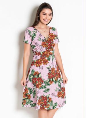 Vestido Moda Evangélica (Floral) com Transpasse