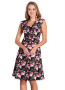 Vestido Moda Evangélica Floral Dark com Babados