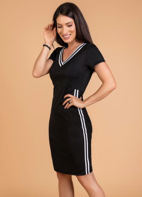 Vestido Moda Evangélica (Preto) com Faixa