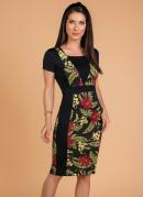 Vestido Moda Evangélica Tubinho Floral
