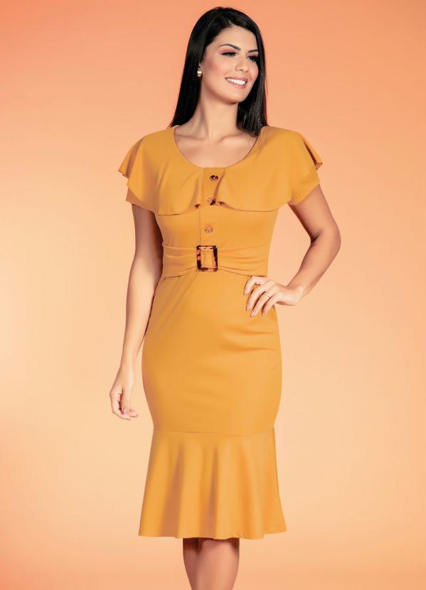 Vestido (Mostarda) com Faixa Fixa Moda Evangélica