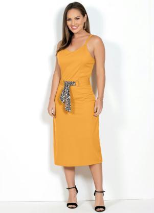 Vestido (Mostarda) com Fivelas