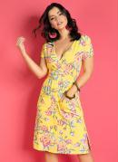 Vestido no Joelho com Bolsos Floral Amarelo