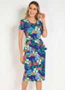 Vestido Peplum Floral Moda Evangélica