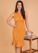 Vestido Poá Mostarda com Babado Moda Evangélica