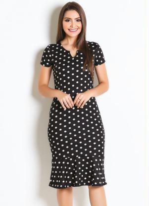 Vestido (Poá) Tubinho Moda Evangélica
