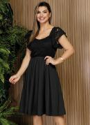 Vestido Preto com Renda Moda Evangélica