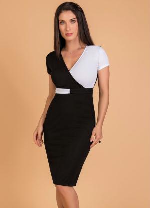 Vestido (Preto e Branco) Moda Evangélica