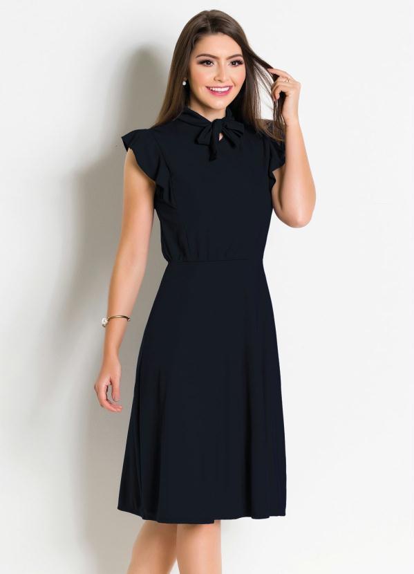 Vestido (Preto) Moda Evangélica com Gola Laço