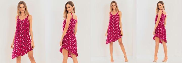 Vestido Quintess Assimétrico Poá Pink