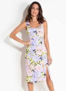 Vestido Quintess Floral Lilás com Fenda