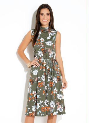 54844ab9c5 Vestido Quintess Floral sem Mangas e Gola Alta - SouLojista